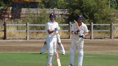Jed Cawkwell, left, and Kyran Young during their record-breaking third-wicket stand of 262 for Suffo
