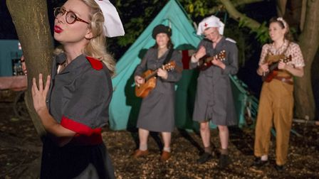 Joanna Sawyer, Claire Lloyd, Jack Heydon and Fizz Waller in Red Rose Chain's Much Ado About Nothing
