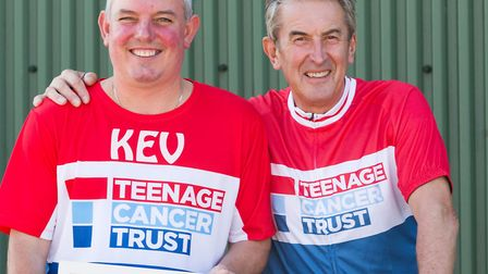 Kevin Cook, left, who ran the London Marathon with Mel Hopkins, who is cycling 100 kilometres for th