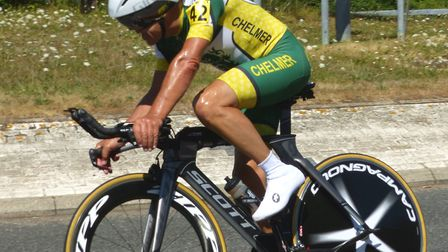 Chelmsford rider John Golder – a national record for age 65 at the CC Breckland 12-hour time trial.