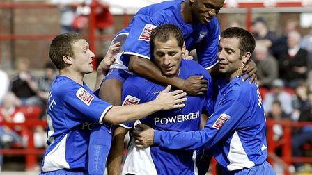 Ipswich Town players celebrate one of Shefki Kuqi's goals as Town beat Rotherham 2-0 on 28 August 20