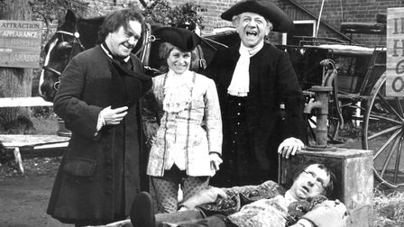 Peter Butterworth (left) Barbara Windsor and Sid James are amused by Jack Douglas's pedicament in Ca