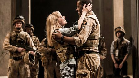Othello at the National Theatre; directed by Nicholas Hytnerl-r: Olivia Vinall (Desdemona) and Adr