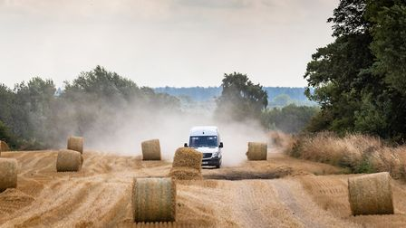A driver taking a shortcut across a field in an attempt to avoid an 11-mile diversion in Lakenheath,