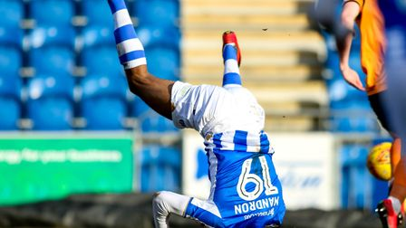Mikael Mandron, in gymnastic mood, bagged a brace in today's impressive home win over Gillingham. Pi