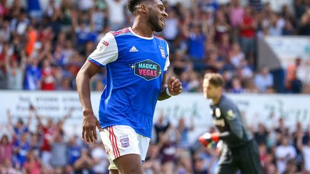 Ellis Harrison celebrates after scoring to level the score at 1-1. Picture: Steve Waller www.s