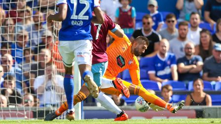 Bartosz Bialkowski is beaten by Matko Arnautovic as the visitors re-take the lead. Picture: Steve
