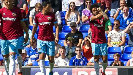 Felipe Anderson (right) celebrates his goal for West Ham to take them 1-0 ahead. Picture: Steve W