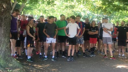 Runners, joggers and walkers congregate before the start of Saturday's 44th Castle Park parkrun. Pic