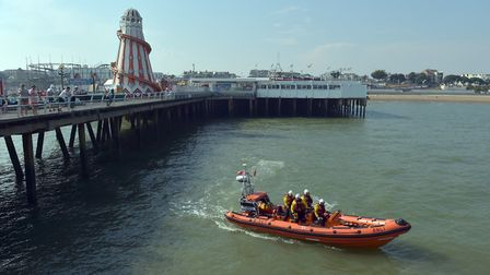 The RNLI searches near Clacton Pier, Clacton-on-Sea, in Essex, after a teenage boy was reported miss