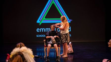Louis has his head shaved in front of a big crowd at DanceEast Picture: EMMA KINDRED