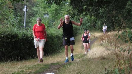 Phil Nutley, right, and his wife Valerie, tackling the 5K course at Chantry Park. Former marathon gu