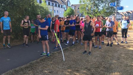 Runners, joggers and walkers congregate for the start of last Saturday's Pocket parkrun, in St Neots
