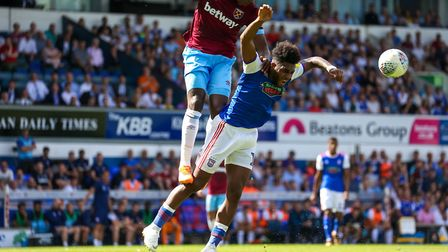 Ellis Harrison appealed for a penalty after this challenge by Angelo Ogbonna in the first half of th