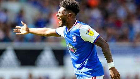 Ellis Harrison pictured during the Ipswich Town v West Ham game. Picture: Steve Waller www.ste