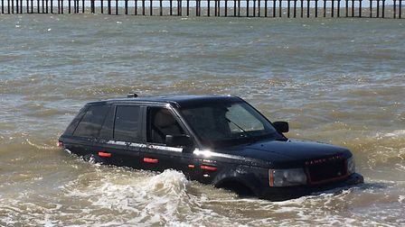 A Range Rover became stuck on the beach near Felixstowe pier Picture: ARCHANT