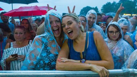 Rain couldn't spoil the fun for crowds watching Plan B at Newmarket Nights. Picture: ON TRACK MEDIA