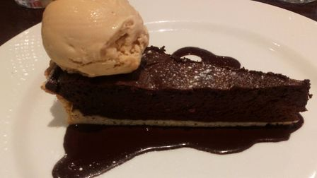 Chocolate tart with salted caramel ice cream Picture: Archant