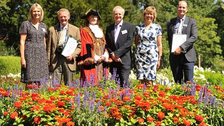 Judges from Britain in Bloom visited Abbey Gardens in Bury St Edmunds. Left to right: Rebecca Davis