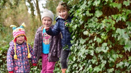 Tilly,Poppy and Elsie Hinton at Foxburrow Farm in Melton. Picture: SARAH LUCY BROWN