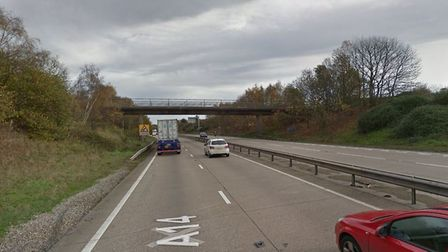 A dog was hit by a car on the A14 eastbound at Nacton Picture: GOOGLEMAPS
