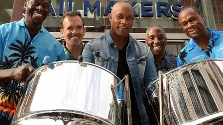 The Phaze2 Caribbean Steelband. Pictured, from left, are band members James Powell, Nick Bartlett, D