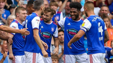 Town players celebrate Gwion Edwards early goal in the Ipswich Town v Blackburn match. Picture: S