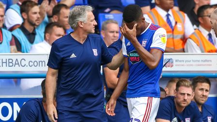Jordan Spence leaves the pitch injured late in the first half. Picture: STEVE WALLER WWW.STEP