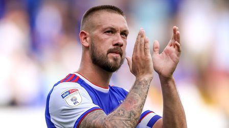 Luke Chambers applauds fans at the end of the Blackburn Rovers match. Picture: STEVE WALLER W