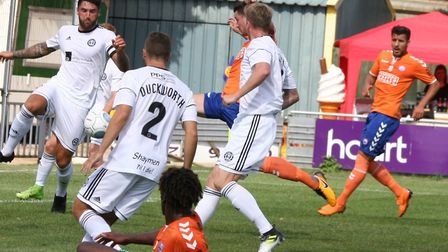 Luke Allen (hidden) goes close for Braintree Town in the first half of their home defeat to FC Halif