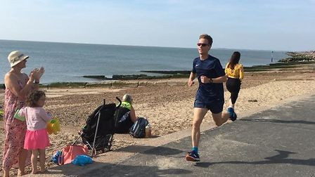 Philip Boak on his way to first position at the Felixstowe parkrun on Saturday. Picture: FELIXSTOWE