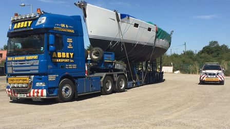 The boat is being transported to a marina near Ipswich Picture: NS ROADS POLICING & FIREARMS UNIT
