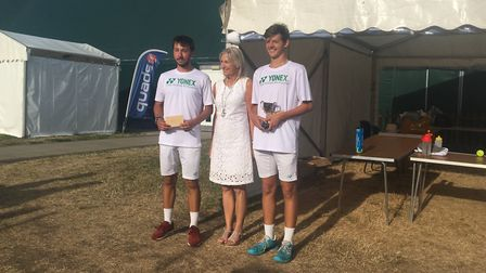 Marco Mitev Will and Asa Sumner-Keens (right), Men's Open finalists at Culford, with Susan Glasswell