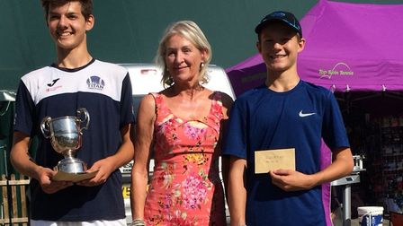 Culford under 18 finalists Asa Sumner-Keens, left, and Samuel Winter, with Susan Glasswell. Picture: