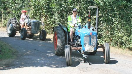 Some of the tractors on show at the Mid Suffolk Light Railway special event Picture: PAUL GEATER
