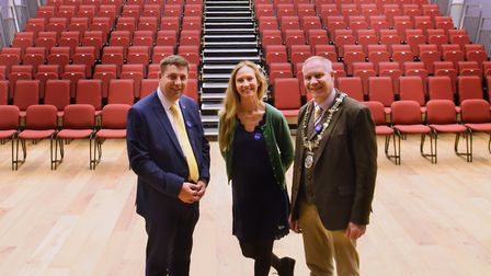 Angela Sykes, Corn Hall director, with Diss town mayor, Mike Bardwell, right, and Graham Minshull, l