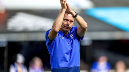 Town manager Paul Hurst applauds fans after the Blackburn Rovers draw. Picture: STEVE WALLER