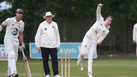 Bury St Edmunds bowler Josh Cantrell, who took three for 34 in the surprise win at Mildenhall. Pictu