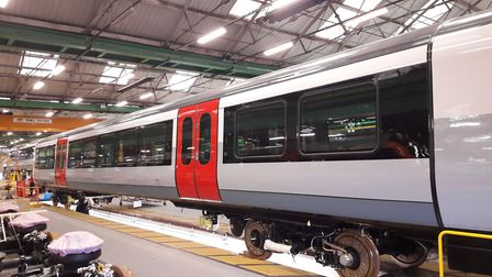 The first carriage of Greater Anglia's new Bombardier trains has been completed at Derby Picture: GR