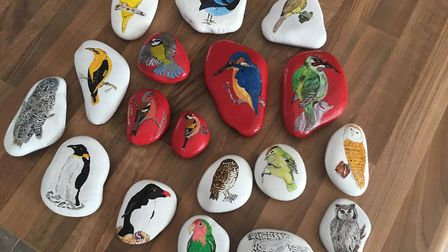 The Suffolk Rocks craze is sweeping across the county. Pictured are rocks designed by Carlton Colvil