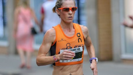 Helen Davies, in action during last Friday's Ipswich Twilight 10K, where she set a course record and