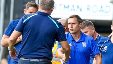 Town manager Paul Hurst shakes hands with Tony Mowbray ahead of Saturday's 2-2 draw at Portman Road