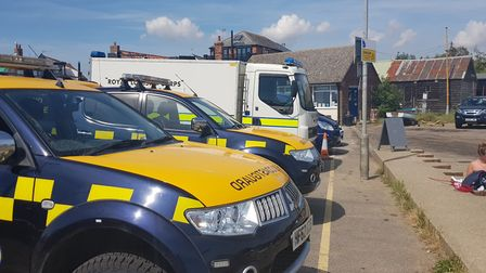 Emergency services at the scene at Orford Ness, where a possible ordnance is being located Picture: