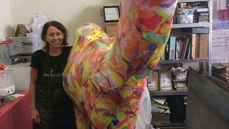 Michelle Freeman with her imaginative and iconic camel for the World War 1 Trail in Bury St Edmunds.