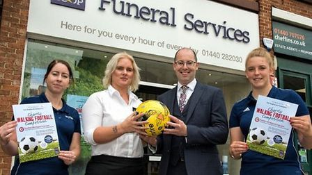 Kayleigh and Sophie from Haverhill Rovers with Rob Head, funeral services area manager and Emily Liv
