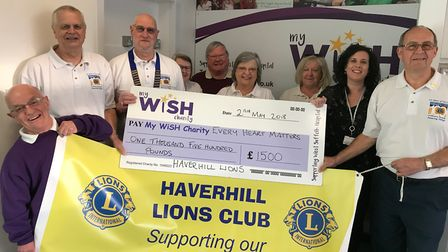 Haverhill Lions hand over a cheque for £1,500 to Sally Daniels, the My WiSH Charity campaign manager