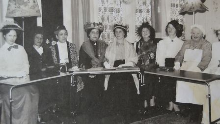 The original committee of Long Melford WI at Melford Hall. Date Unknown.