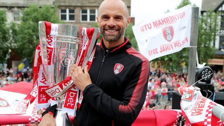 Rotherham United manager Paul Warne with the League One Play-Off Final trophy. Photo: PA