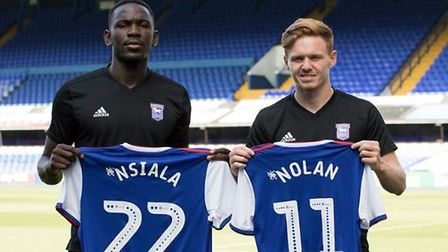 Toto Nsiala and Jon Nolan have been signed from Shrewsbury for �2m. Picture: ITFC