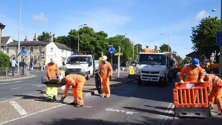 Road workers in Bury St Edmunds Picture: GREGG BROWN